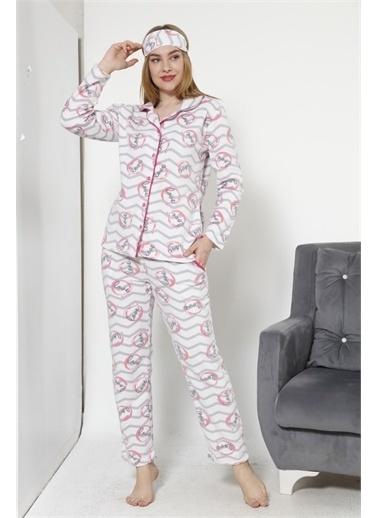 Akbeniz Kadın Önden Düğmeli Ekru Polar Pijama Takımı 8046 Ekru